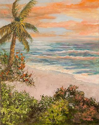 Florida Coastal Landscape, Seascape Painting 'View From The Cottage by The Sea' by Florida Impressionism Artist Annie St Martin
