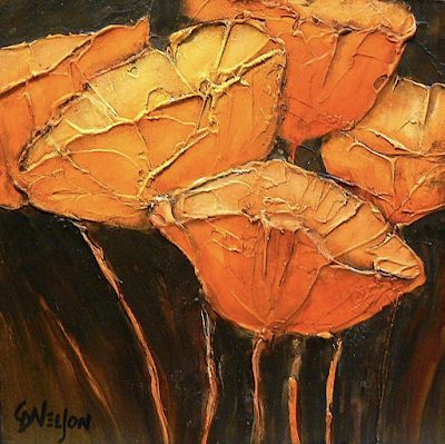 "Flower Art, Fine Art Print, ""Golden Poppies"" by Colorado Artist Carol Nelson"