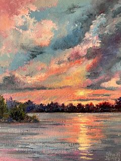 Contemporary Impressionistic Sunrise Sunset Landscape Palette Knife Oil Painting by Sheri Jones
