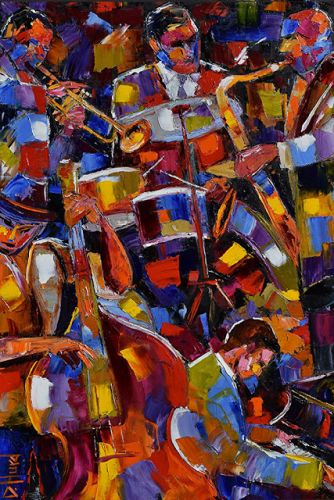 """Abstract Jazz Painting Colorful Music Instruments Art """"Jazzy Five"""" by Texas Artist Debra Hurd"""