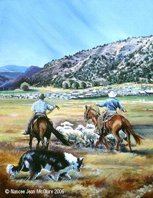 "Original Western Landscape Painting ""Working The Release Pen"" by Artist Nancee Jean Busse, Painter of the American West"