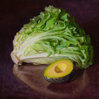 Still life original oil painting for kitchen lettuce olive a painting a day contemporary realism
