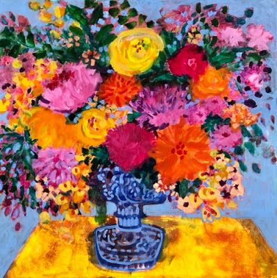"Contemporary Expressionist Still Life Art,Bold Expressive Painting ""Closer to Spring"" by Santa Fe Artist Annie O'Brien Gonzales"
