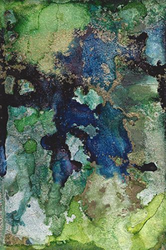 "Original Contemporary Abstract Mixed Media, Alcohol Ink Painting ""CLOISONNE 2"" by Contemporary Artist Lou Jordan"
