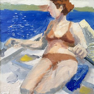 317 Rowing, Painting of a Woman in Bikini Rowing a Rowboat by Fred Bell