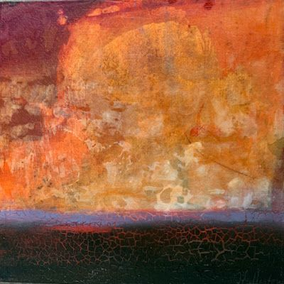 "Contemporary Mixed Media Landscape Painting ""Prairie Sunset"" by Intuitive Artist Joan Fullerton"
