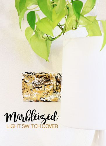 Marbleized light switch cover