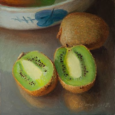 Kiwi fruit daily painting a day still life original oil painting small