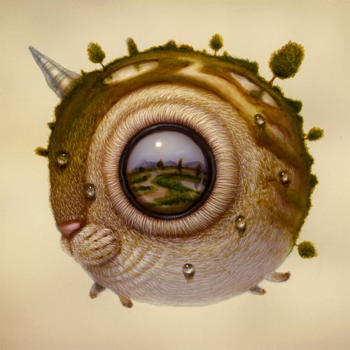 Hybrid Creatures with Oversized Eyes Reflect Imagined Landscapes in Surreal Paintings by Haoto Nattori