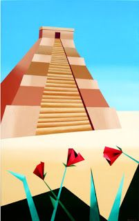 Mark Webster - Abstract Geometric Pyramid Acrylic Painting