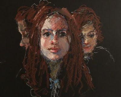 3 Lisas - oil pastel portrait sketch of model in 3 views