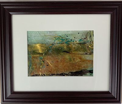 "Abstract Art, Mixed Media, Contemporary Painting, ""Gold Horizon""by Texas Contemporary Artist Sharon Whisnand"