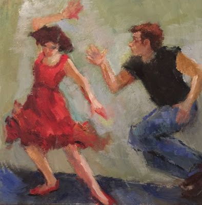 Jivin' Up a Storm - original figurative oil jive dancers