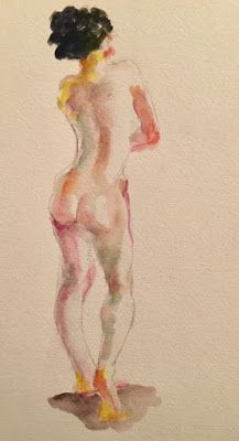 A Colorful Little Nude - watercolor nude