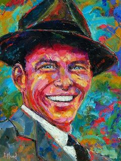 "Abstract Palette Knife Portrait ""Frank Sinatra"" by Texas artist Debra Hurd"