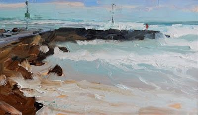 """""""The Jetty"""" plein air marinescape painting by Robin Weiss"""