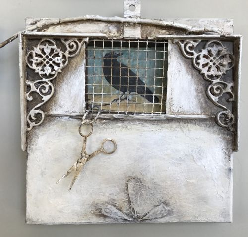 "Contemporary Mixed Media, Assemblage ""Release"" by Intuitive Artist Joan Fullerton"