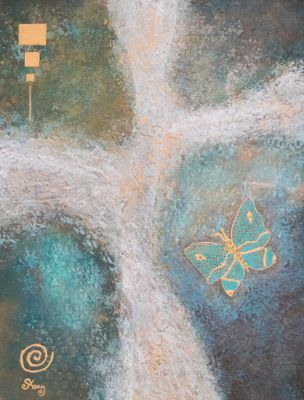"Contemporary Art, Mixed Media, Abstract Art Painting ""Free Flight: Which Way?"" by Arizona Artist Pat Stacy"
