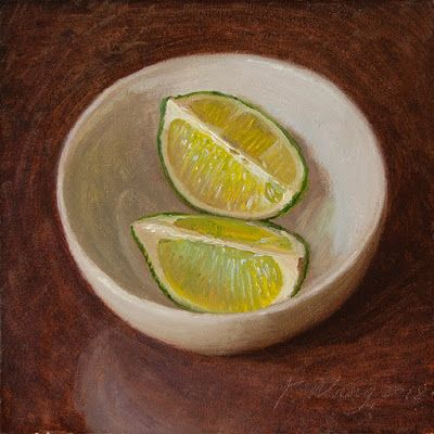 Slices of lime in a bowl, still life fruit original oil painting daily painting a painting a day small work of art contemporary realism