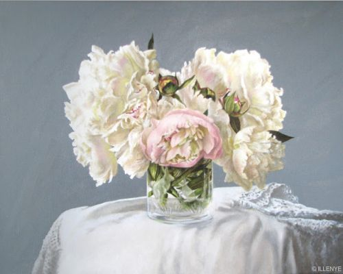 Peonies & bunnies still life oil painting 16x20 in