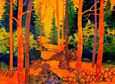 "Abstract Landscape, Trees, Contemporary Painting,Mixed Media ""Sunny Day 4"" by Carol Nelson Fine Art"