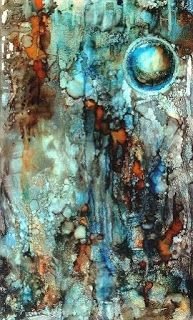 "Original Alcohol Ink Contemporary Abstract Cosmos, Geologic Abstract Painting ""Orb I"" by Richmond Artist Lou Jordan"