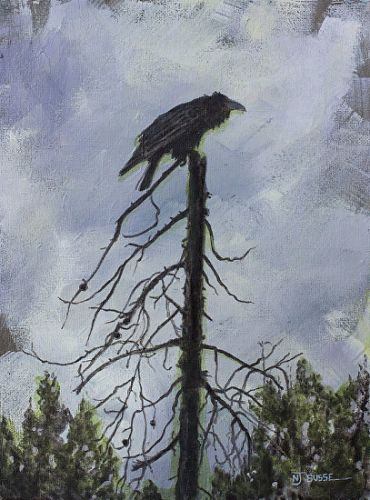 "Raven, Bird Fine Art Painting, Wildlife Art ""THE SENTINEL"" by Colorado Artist Nancee Jean Busse, Painter of the American West"