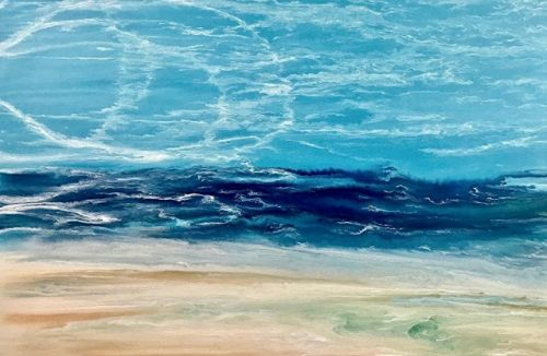 "Contemporary Beach Art, Abstract Seascape Painting, Coastal Art ""Late Afternoon Surf"" by International Contemporary Landscape Artist Kimberly Conrad"