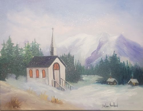 Winter Time Church Scene, oil painting,canvas, Barbara Haviland