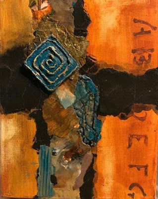 "Abstract Mixed Media Art, Contemporary Painting, ""NEW EXPERIENCES IN ORANGE AND TURQUOISE"" by Florida Contemporary Artist Mary Ann Ziegler"