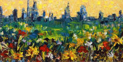 "Palette Knife Denver Skyline Landscape Painting ""City Flower"" by Colorado Impressionist Judith Babcock"