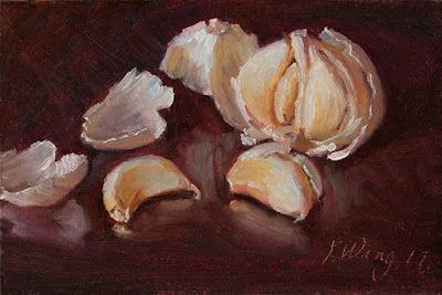 Garlic still life painting small daily painting a day