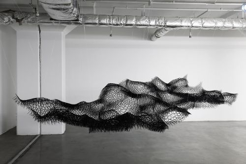 Interlocking Cable Ties Form Undulating Water and Biomorphic Sculptures by Sui Park
