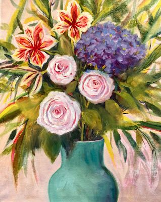 "Contemporary Expressionist Still Life, Bold Expressive Flower Art Painting ""FROM THE GARDEN"" by Santa Fe Artist Annie O'Brien Gonzales"