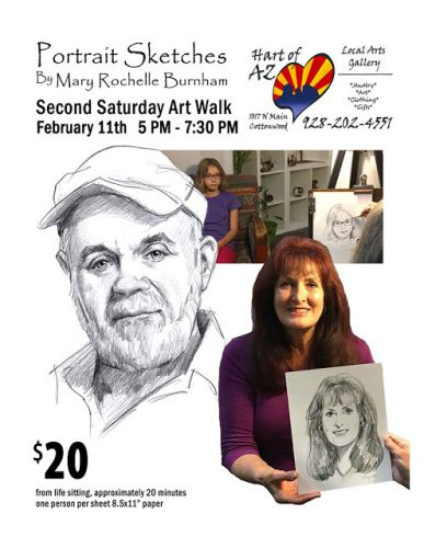 Portrait Sketches This Saturday In Old Town Cottonwood, 1017 N. Main, 5 PM-7:30 PM