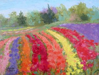 Tulip Festival, New Contemporary Landscape Painting by Sheri Jones