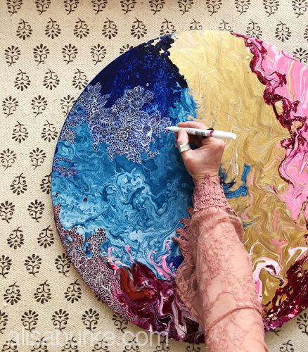 A peeking inside my process: playing with pour painting