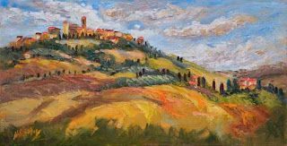 """New """"Autumn in Tuscany"""" Palette Knife Oil Painting by Niki Gulley"""