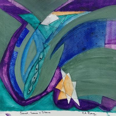 "Mixed Media, Contemporary Art, Expressionism, Abstract Painting, ""Land, Sea and Stars"