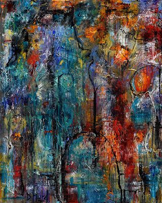 """Palette Knife, Abstract Painting, Contemporary Art on Canvas """"Variations"""" By Debra Hurd"""