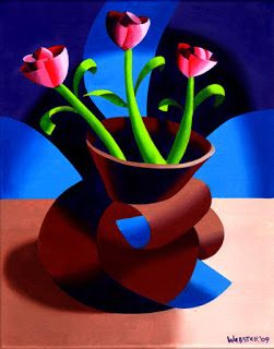 Mark Webster - Futurist Dancing Abstract Flower Pot Still Life Oil Painting - Step Two