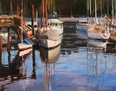 """Winslow Marina"" marine oil painting by Robin Weiss"
