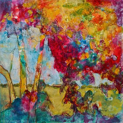 "Bright Colorful Contemporary Landscape Painting, Abstract Art Trees ""The Vision"" by Passionate Purposeful Painter Holly Hunter Berry"
