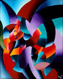 Mark Webster - Abstract Futurist Chess Player Oil Painting