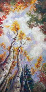 """New """"Sky High"""" Palette Knife Aspen Tree Painting by Contemporary Impressionist Niki Gulley"""