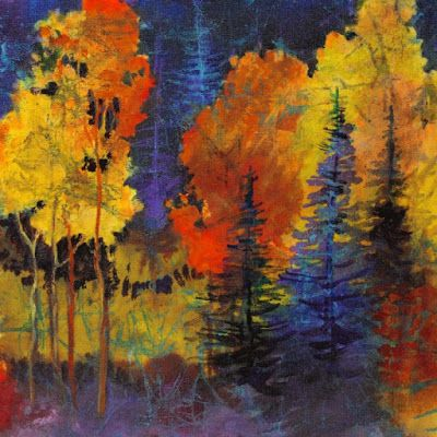 """Faux Batik Painting, """"Autumn Glow"""" by Colorado Mixed Media Abstract Artist Carol Nelson"""