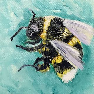 SOLD, Bee Kind, by Melissa A. Torres, 3x3 oil on canvas