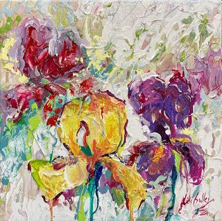 Yellow and Purple Iris Painting by Palette Knife Artist Niki Gulley