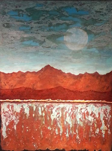 "Contemporary Abstract Landscape Painting, Patina ""TURQUOISE SLEEPY MOUNTAIN MOON"" by Contemporary Artist Brian Billow"