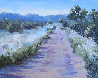 Snow on the Mountains Flower, New Contemporary Landscape Painting by Sheri Jones